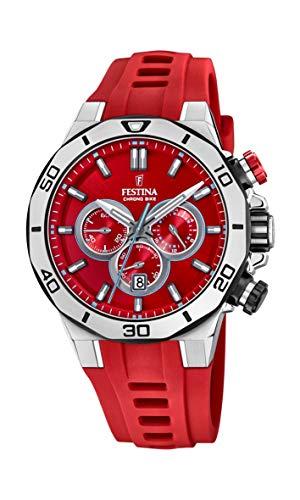 Festina Unisex Erwachsene Chronograph Quarz Uhr mit Silikon Armband F20449/B
