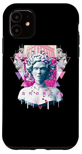 iPhone 11 Vaporwave Medusa Statue Aesthetic Retro Japanese Otaku Art Case