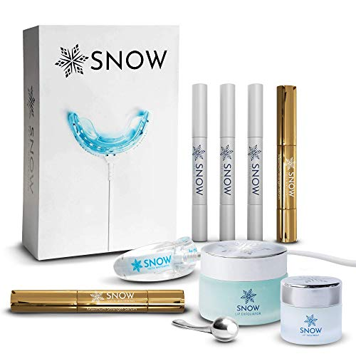 SNOW ULTIMATE GIFT BUNDLE | At Home Teeth Whitening Kit with LED Light + Whitening Refill (Max Strength) + Rejuvenating Lip Care Treatment with Resveratrol + Lavender & Mint Sugar Lip Exfoliator Scrub