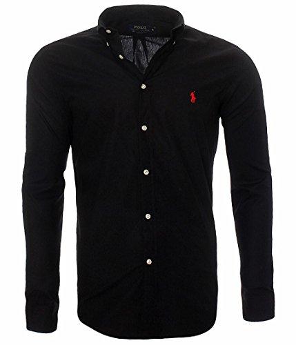 Ralph Lauren Herren Hemd Classic Slim Fit S-M-L-XL-XXL Outlet, Farbe:Schwarz, Größe:L