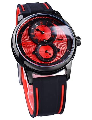 Forsining Moda Racing Mens Relojes Deporte Automático Mecánico Reloj De Pulsera Rojo Doble Dial Impermeable Analógica Correa De Silicona Montre Homme