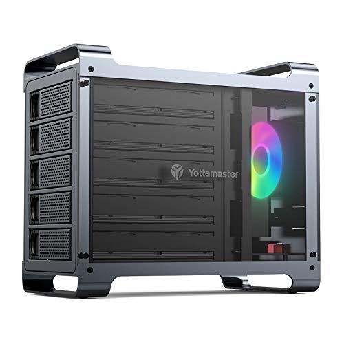 Yottamaster 5 Bay RAID External Hard Drive Enclosure 2.5 &3.5  SATA HDD SSD Enclosure with 80mm RGB Silent Fan,Supports 80TB Max and RAID 0 1 3 5 10 Span Clone Normal RAID Modes - [DF5RU3]