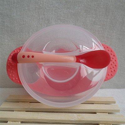 Vajilla de aprendizaje con ventosa para bebés, cuenco con tapa y cuchara con sensor de temperatura rosso