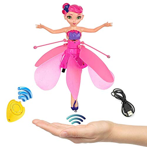 Strivy Flying Fairy Doll for Girls,RC Infrared Induction Helicopter Kids Toys Teen Toys Flying Princess Doll (Pink)