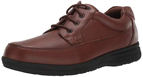 Nunn Bush Men's Cam Moc Toe Lace-Up with Comfort Gel and Memory Foam, Cognac Tumbled, 12 Wide