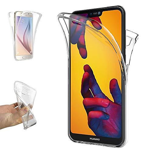 REY - Funda Carcasa Gel Transparente Doble 360º para Huawei P20 Lite, Ultra Fina 0,33mm, Silicona TPU de Alta Resistencia y Flexibilidad