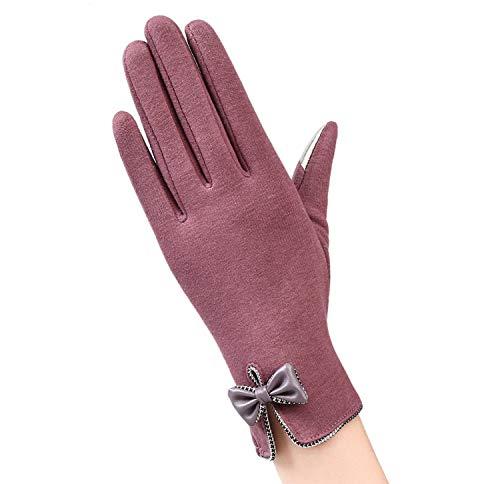 Small-shop-gloves Gants élégants pour Femme avec écran Tactile en Dentelle et Dentelle Chaude en Cachemire, Femme, E Bean Color, oneszie
