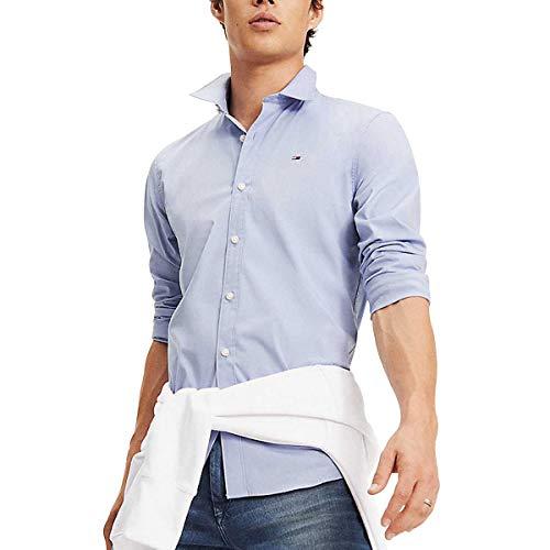 Tommy Jeans Original Stretch Camicia Slim Fit, Blu (Lavender Lustre 556), L Uomo