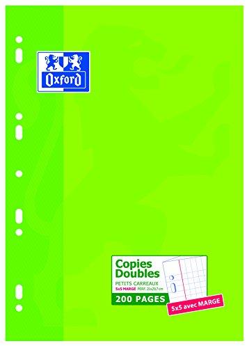 Oxford Scolaire 100105678 A4-Papier, Doppelbögen, kleine Kästchen, 200 Blatt, Weiß