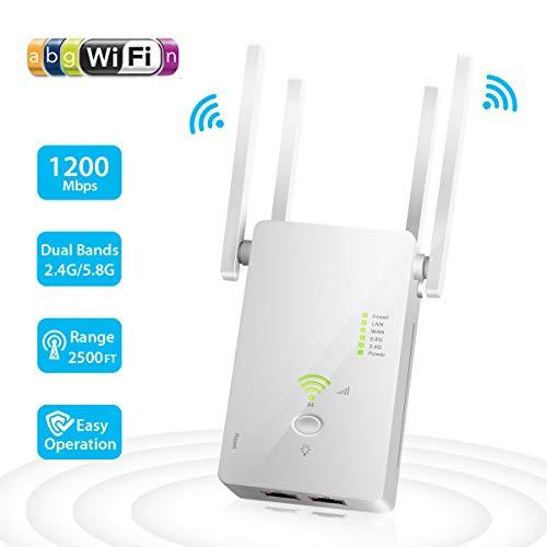 Ripetitore WiFi Wireless, 1200 Mbps Amplificatore Segnale Wi-Fi 5GHz/2.4GHz Range Extender WiFi Portatile Copertura 2500FT Modalità AP/Repeater/Router