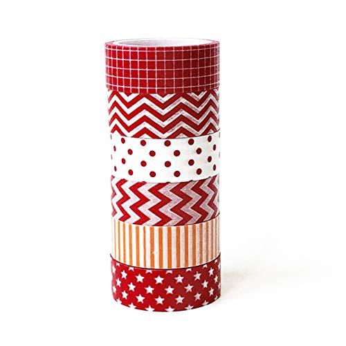 Sungpunet 6 Rolls Noël Washi Tape Set, Joyeux Noël Collections Masking Tape Art Craft Gift Pack Wrap présent pour Décorations festives de Noël Favors Fournitures rouge et blanc * 1