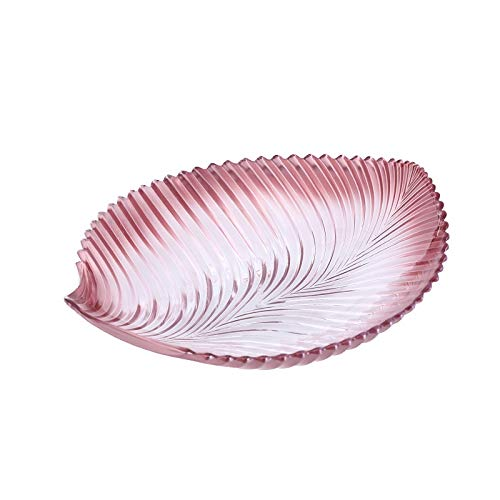 Fruit Bowl bladvorm plastic bakje, transparant Nut Tray, Party Eetbak PC Materiaal Fruitschaal (Color : Pink)