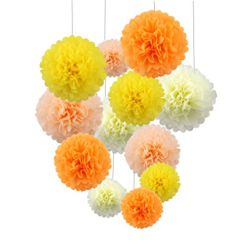 Juego de 8bolas de pompones de papel de flores para bodas o fiestas o decoración de la habitación del bebé niña 25 cm (verde blanco rojo oro)