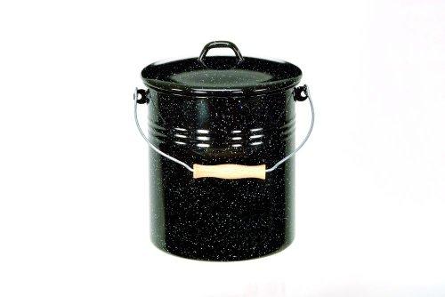 Krüger M10G Mülleimer mit Deckel emailliert 10 L schwarz