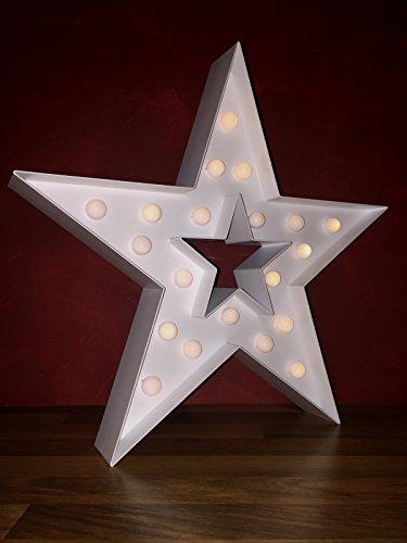 Cepewa 70820 Stern weiß mit 20 LED Leuchtkugeln Batteriebetrieb Weihnachtsstern ca. 40 x 40 cm