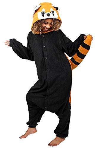 Anbelarui Tier Skelett Pinguin Dinosaurier Panda Einhorn Kostüm Damen Herren Pyjama Jumpsuit Nachtwäsche Halloween Karneval Fasching Cosplay Kleidung S/M/L/XL (M, Waschbär)