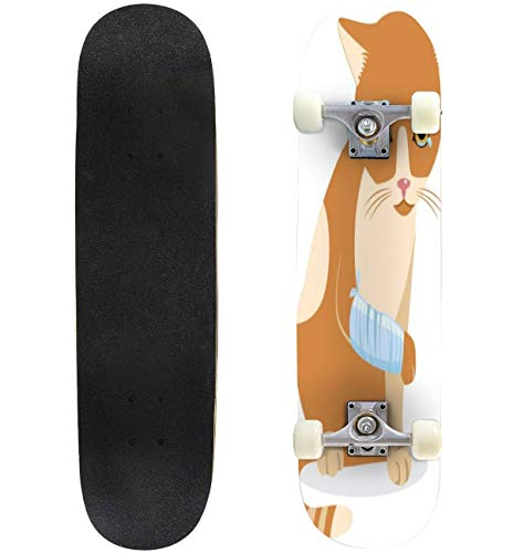 Cry Cat with Splinting Leg Tears of Despair Sadness Life Stock Skateboard Complete Longboard 8 Layers Maple Decks Double Kick Concave Skate Board, Standard Tricks Skateboards Outdoors, 31'x8'