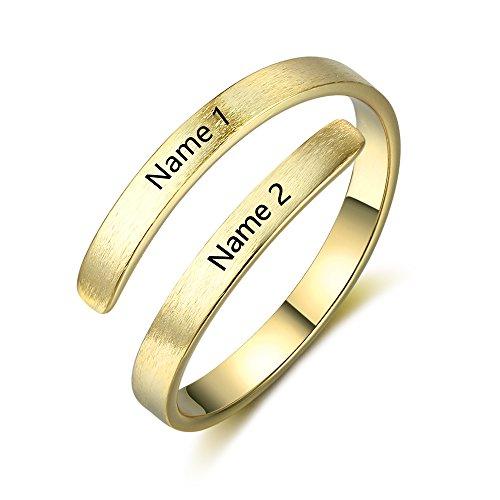 Lam Hub Fong Anillos Cobre Mujer Ajustable Grabado 2 Nombre Personalizado Anillo Compromiso Baratos Mujer (Oro)