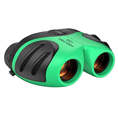 Binoculars for Kids, 8x21 Compact Binoculars for Birding Watching Toys for 3-12 Year Old Boys Easter Gifts for 3-12 Year Old Girls Telescope for Kids Stocking Fillers Green TGUS01