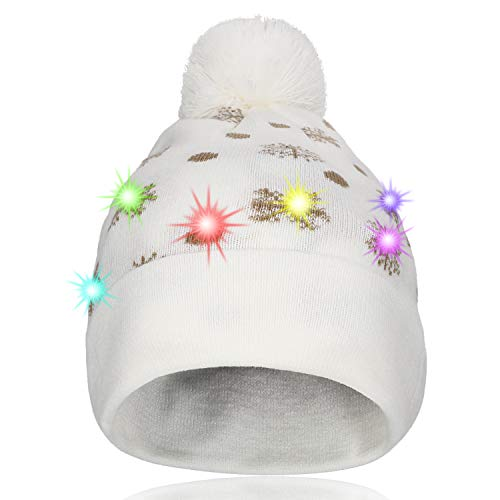 Hifot LED Light Up Bonnet Chapeau Beanie Hat Knit Cap Bonnet de Noël Lumineux et coloré de Noël Bonnet en Bonnet tricoté (Neige Blanche)