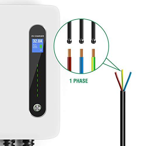 LEFANEV Ladestation für Elektrofahrzeuge (EV) mit 32 Ampere Großes Display und EU Stecker Typ 2 (IEC 62196-2) EVSE, 20-Fuß-Kabel, Innen/Außenbereich (White) - 7
