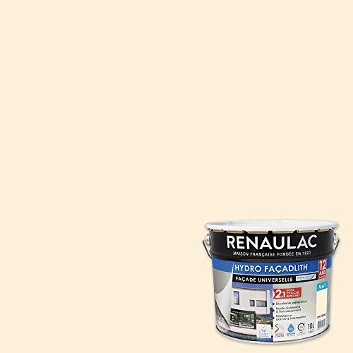 Renaulac Peinture Façade hydropliolite® Ton Pierre - Garantie 12 ans - 10L - 80m² / pôt