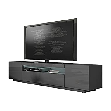 Miami 200 Modern 90  TV Stand High Gloss Front, 16 Colors LED (dark grey)