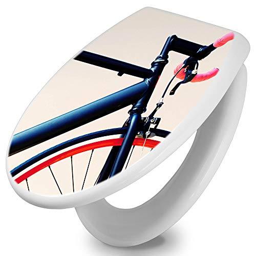 banjado Toilettendeckel mit Absenkautomatik | WC Sitz 44cm x 5cm x 37cm | Klodeckel weiß | Klobrille mit Edelstahl Scharnieren | Toilettensitz mit Motiv Rennrad