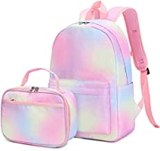 CAMTOP Backpack for Girls Kids School Backpack with Lunch Box Preschool Kindergarten BookBag Set Small Toddler Bags (Rainbow A)
