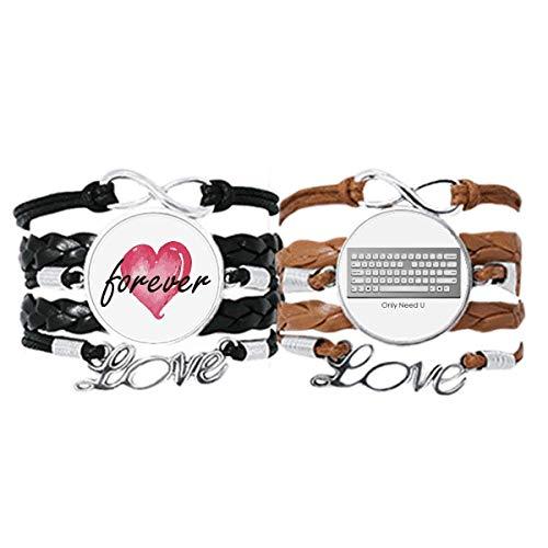 Bestchong Programmer Keyboard Only Need U Armband Handschlaufe Leder Seil Forever Love Armband Doppelset