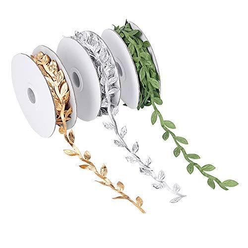 3 rouleaux de plantes artificielles rubans, vert / or / argent feuille ruban garniture bobine, approprié pour chapeaux parti fleur arbre chapeau décoration, 1-1 / 4 \