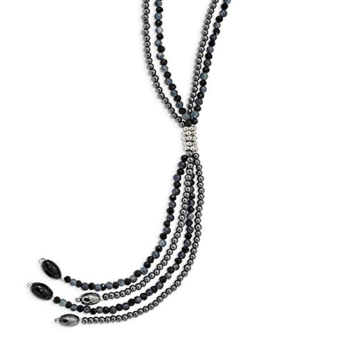 Ryan Jonathan Fine Jewelry Sterling Silver Black Agate/Black Crystal/Hematite/Grey Quartz 2-Strand with 5 Inch Drop Necklace, 30'