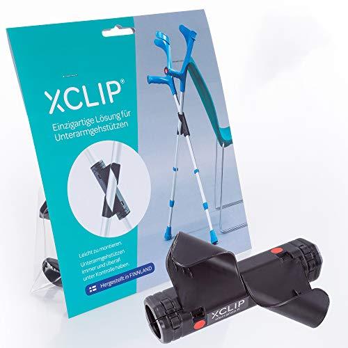 XCLIP Krückenhalter zum mitnehmen, für unterwegs - Halterung zum Abstellen von Krücken, Gehhilfen, Gehstützen, Unterarmstützen oder Gehstöcken - X Krückenhalterung für Senioren
