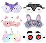 6 paquetes de máscara de ojos de felpa de dibujos animados