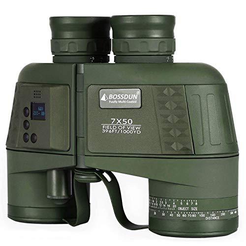 Binocolo Marino 7X50 con Telemetro Elettronico Digitale ,con BAK4 Prisma Lente FMC Antiappannamento per Caccia di Adulti, Marine, Pesca e Birdwatching