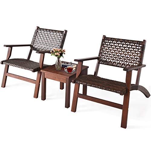Tangkula 3 PCS Patio Conversation Set, Solid Eucalyptus Wood Frame Outdoor Wicker Furniture Set Bistro Set with Coffee Table, Rattan Furniture Set for Backyard Porch Garden Poolside Balcony (Brown)