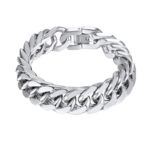 PROSTEEL Steel Curb Bracelet Mens Bike Bicycle Chain 17mm Thick Bracelet Jewellery Male Gifts