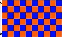 アメリカンフラッグ★青橙チェッカー旗★3x5ft (90x150cm)ブルーオレンジ