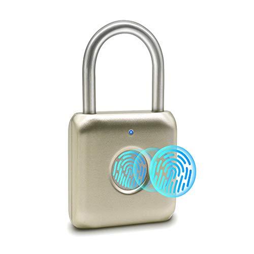 Fingerabdruck-Vorhängeschloss Mini Smart Vorhängeschloss Keyless USB-Aufladung Biometrisch Hohe Sicherheitsverriegelung für Gym Locker, Shed Locker, Lagereinheiten, Gepäck, Koffer (golden)