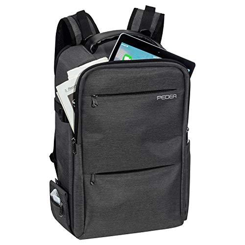 PEDEA DSLR-Kamerarucksack Noble Fotorucksack für Spiegelreflexkameras mit wasserdichtem Regenschutz und Variabler Inneneinteilung, grau
