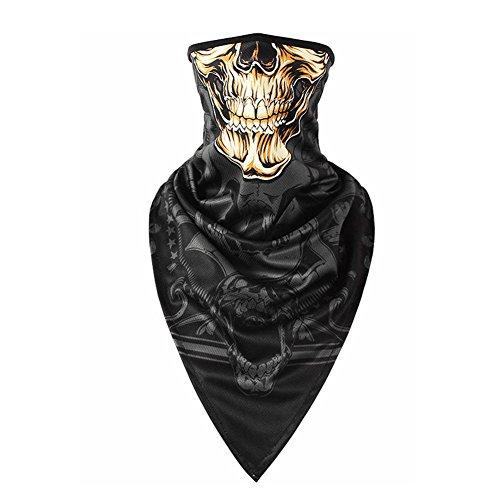 Impression Máscara de halloween Pasamontañas de Calavera Braga de Cuello Casco Moto mascara moto Negros para Invierno respirable Máscara de Tubo Máscara Facial de la Motocicleta (A)