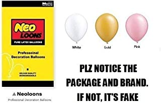 Neo LOONS 10 inch Pearl White & Pink & Gold Premium Latex Balloons for Birthdays Weddings Receptions Baby Showers Decorations, Pack of 100