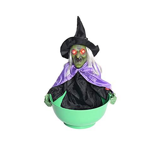 Hexe Süßigkeitenhalter Obstschale für Halloween-Party, Fashion Persönlichkeit Halloween Dekorationen Candy Bowl mit Sound Lights, grün, Größe