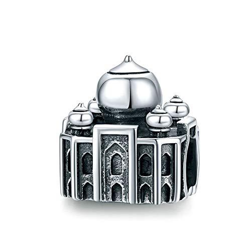 HMMJ S925 Sterling Silver Retro Building Style Charms Dangle Bead Juego para Pandora/Troll/Chamilia Charm Pulsera (Color : Taj Mahal)