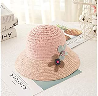 Baby Decoration Hat Baby Girls Flower Wide-Brimmed Straw Hat Kids Sun Protection Hat Beach Hat for 2-8 Years Old(Khaki) Cute Cap (Color : Pink, Size : 52cm)