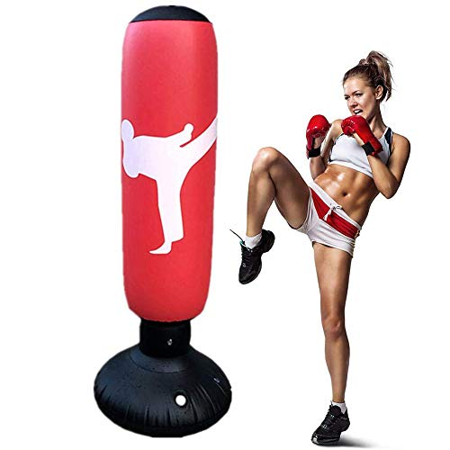 160cm Sac de Frappe sur Pied pour Enfant Adulte Punching Ball Sac de Boxe Gonflable pour Karaté, Fitness, MMA (Rouge)