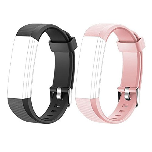 Lintelek Replacement Bands for Fitness Tracker, Replacement Straps, Adjustable Wristbands for Activity Tracker, ID115U or ID115UHR Smart Bracelet Sets for Men Women and Kids (Dark-Pink)