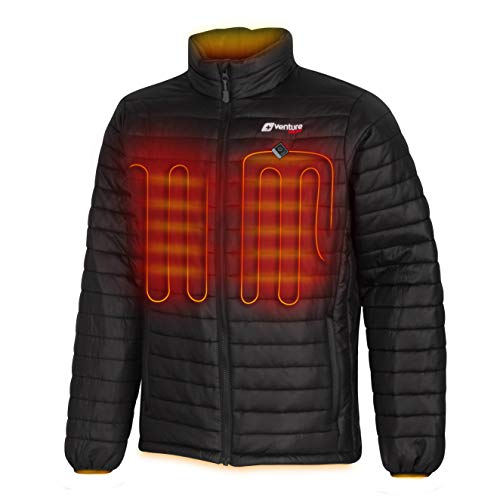 Venture Heat Men's Heated Jacket with Battery Pack - Insulated Electric Coat, Windproof, Traverse 2.0 (L) Black