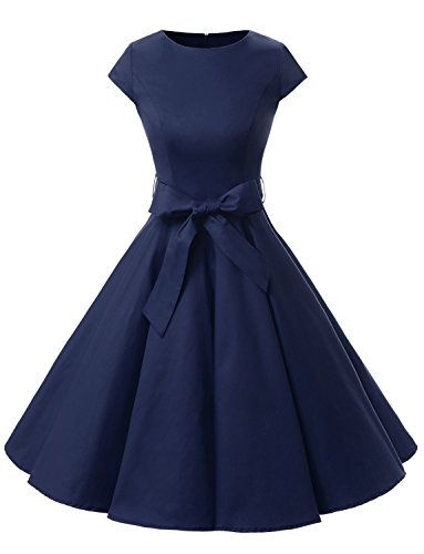 Dressystar Damen Vintage 50er Cap Sleeves Dot Einfarbig Rockabilly Swing Kleider L Marineblau