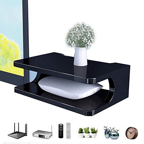 Mini Drijvende plank voor TV-componenten, Wall Mounted Media Console, 2 Tier, Waterdicht en gemakkelijk te reinigen, Opslagracks voor kabelboxen/routers/afstandsbedieningen/dvd-spelers (30 * 20 * 10cm)